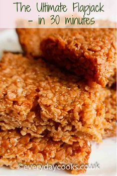 Easy, quick, yummy Flapjack ready for tea in half an hour. Tray Bake Recipes, Easy Baking Recipes, Raw Food Recipes, Sweet Recipes, Cookie Recipes, Dessert Recipes, Shortbread Recipes, Health Recipes, Pudding Recipes