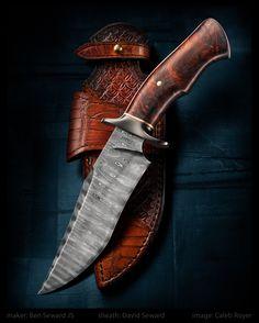 """""""Bodyguard"""" by Ben Seward JS website: bensewardknives.com blade: 300 layer…"""