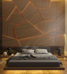 Archiplastica designed a bedroom concept that features a unique accent wall made from geometric wood panels and hidden LED lighting.