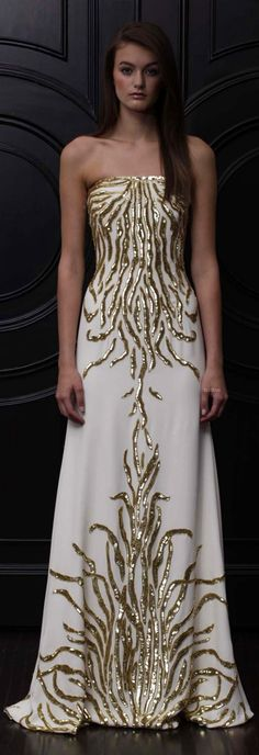 Black tie affair: Naeem Khan gold and white gown