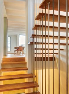 Houses & Apartments, Fascinating Wooden Staircase With Wooden Floor And Banister Dining Table And White Ceiling ~ Casa V as an Appealing House by Serrano Monjaraz Arquitectos