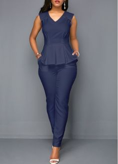 Navy Blue Sleeveless Peplum Jumpsuit Sleeveless V Neck Peplum Waist Pocket Jumpsuit Classy Dress, Classy Outfits, Casual Outfits, Fashion Outfits, Summer Outfits, Latest African Fashion Dresses, African Wear, Jumpsuits For Women, Clothes For Women