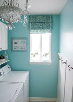 Is there no end to the turquoise gorgeousness? I especially love that theres a chandelier in this laundry room. (via House of Turquoise: Cameras and Chaos Laundry Room) House Of Turquoise, Turquoise Room, Turquoise Paint Colors, Turquoise Home Decor, Turquoise Bathroom, Light Turquoise, Turquoise Furniture, Silver Bathroom, Paint Colours
