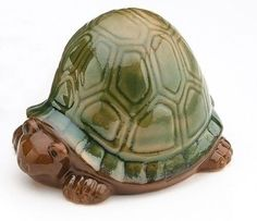 5.25' Pudgy Pals Glazed Porcelain Green and Brown Turtle Figurine Outdoor Garden Statue