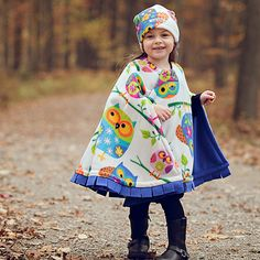 ea9ff385847 This Cozy Gozy Ivory  amp  Purple Owl Travel Cape  amp  Hat - Toddler by