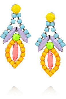 Hand-painted in almost-neon hues, Tom Binns Swarovski crystal earrings will transform any outfit.