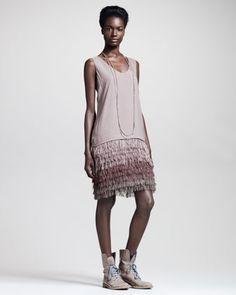 Fringe-Skirt Crepe Dress by Brunello Cucinelli at Bergdorf Goodman.