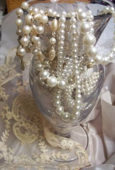 Q: My future mother-in-law gave me a beautiful string of pearls to wear on my wedding day. I was wondering why pearls are so often associated with weddings; Pearl Centerpiece, Candle Centerpieces, Pearl And Lace, Southern Belle, Tahiti, Pearl Jewelry, Pearl Necklaces, Just In Case, Shabby Chic