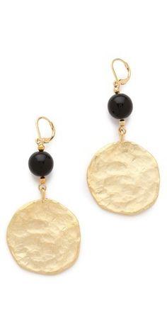 Kenneth Jay Lane Satin Gold Coin Drop... $44.00