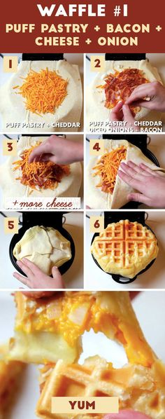 Here's how to make it: 1. Spray both sides of your waffle maker with nonstick cooking spray, then lay a sheet of puff pastry dough down on the bottom half. Sprinkle a layer of cheese in the center of the waffle.2. Add onions and crumbled-ish bacon. 3. ADD MORE CHEESE. MOAR. 4 and 5. Fold in the edges of your pastry dough and seal the edges (otherwise, the cheese might leak out while it's cooking). 6. Close your waffle maker, and cook until the puff pastry is golden brown and ~delicious…