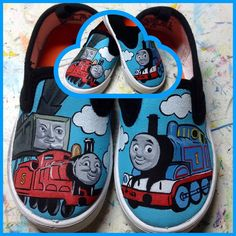 Thomas the Train inspired custom painted by LaceysCraftyLetters