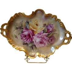 Truly Exquisite Limoges Rococo Tray; Expertly Hand Painted Roses
