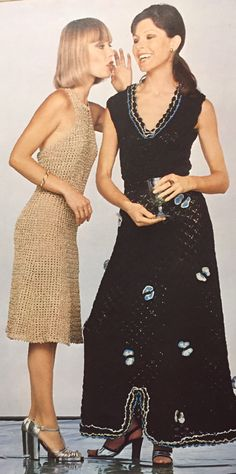 Halter neck evening dress.  Crochet dress.  Family Crochet: seasonal styles for all occasions.  Pamela Smythe