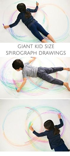 Third grade for organic creations fourth grade for planned designs Create GIANT Kid Size Spirograph Drawings by hellowonderful: Awesome, creative and fun art project for kids! Wouldn't this make fun collaborative art too? Preschool Art, Preschool Activities, Kindergarten Art, Spirograph, Cool Art Projects, Collaborative Art Projects For Kids, Process Art, Motor Activities, Indoor Activities