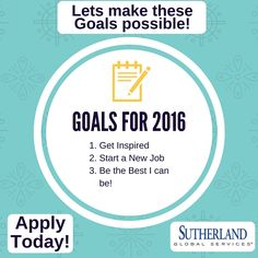 Goals for 2016. Start your Career with us! Apply today! #SutherlandGlobal