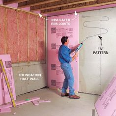 Turn your unfinished basement into a living space. Framing basement walls and insulating basement walls is the core of any basement finishing project - April 13 2019 at Insulating Basement Walls, Basement Wall Panels, Framing Basement Walls, Basement Insulation, Basement Flooring, Flooring Tiles, Tiled Floors, Basement Waterproofing, Man Cave Basement