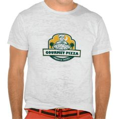 Gourmet Pizza Chef Palmetto Trees Shield Retro T-Shirt. Illustration of a chef with pizza set inside shield and banner with the words text Gourmet Pizza Fresh & Tastey and palmetto trees in the background done in retro style. #Illustration #GourmetPizzaChefPalmettoTrees