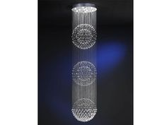 """Lamp of 10 lights made of metal, chrome finish. Balls and beads of faceted """"Asfour"""" crystals, hanging on metal threads forming three spheres."""