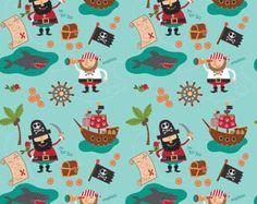 Blackbeard's Pirates Shark Blue by Riley by CuteLittleFabricShop