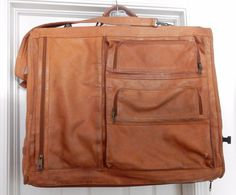 COLOMBIA VTG  LEATHER CARRY ON SUITER BAG LUGGAGE SADDLE TAN TONE DISTRESSED #Unbranded