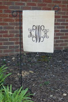 Burlap monogram initial flag for indoor or outdoor use garden flag. $18.00, via Etsy.