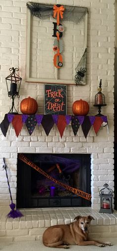 My Halloween Mantle 2016.  I made the mantle scarf from a Pinterest project
