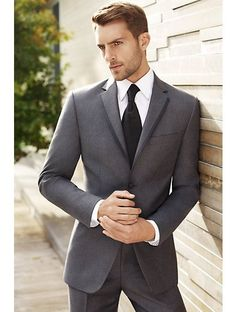 Charcoal suit. Navy tie and clip. Navy pocket square. | followpics ...