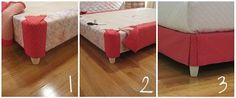 A custom DIY upholstered box spring instead of a bed skirt.