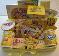 """The Inspiration for this """"You are My Sunshine"""" care package is pinned on my """"Make It and Gift It"""" Board gift basket yellow Cute Birthday Gift, Birthday Gifts For Best Friend, Unique Birthday Gifts, Friend Birthday Gifts, Birthday Box, Best Friend Gifts, Birthday Presents, Themed Gift Baskets, Birthday Gift Baskets"""