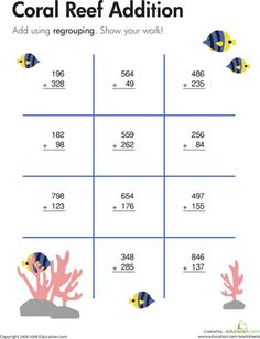Worksheets: Coral Reef: Three-Digit Addition with Regrouping