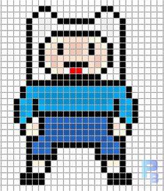 Finn the Human Adventure Time perler pattern - Patrones Beads / Plantillas para Hama