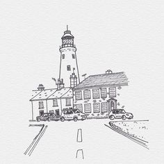 #Sketch #LineArt #Illustration #Cartoon Lighthouse, Product design, Font, Black and white - Photo by @drawnbysam - Follow #extremegentleman for more pics like this!