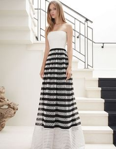 Alexis Rogue Strapless Gown in Black/White Embroidered