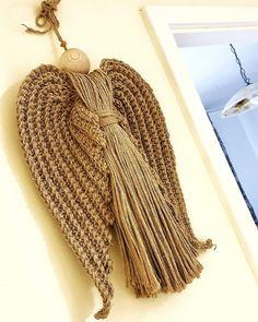@DLThandmade #madewithlove #homedecor- crochet rope big angel wings & wood head- size 60 cm Big Angel Wings, Crochet Rope, Wood, Handmade, Home Decor, Fashion, Madeira, Homemade Home Decor, Hand Made