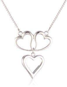 Sterling Silver Triple Open Heart Necklace