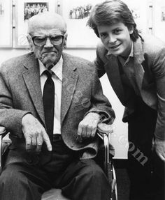 James Cagney & Michael J Fox, NYC 1985 They were talking about Michael playing James in a film about Jame's life, that would have been amazing.
