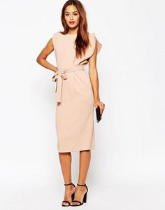 b3af0f38e2 ASOS Belted Midi Dress with Split Cap Sleeve and Pencil Skirt Asos Wiggle  Dress
