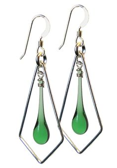 Spring green glass jewelry, made from recycled bottles, and melted with concentrated sunshine.