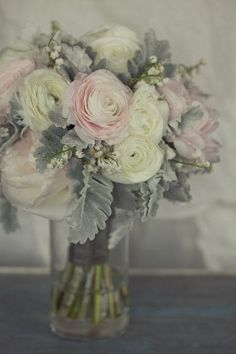 Bridal Bouquet- I don't know if this is the post processing of the photo, but this is the prettiest pink and gray bouquet I've seen