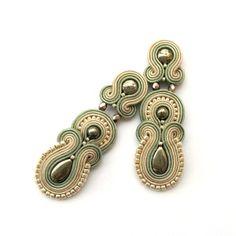 Soutache earrings - Clip-on earrings - Post earrings - SABO Design Soutache Earrings, Gold Hoop Earrings, Clip On Earrings, Statement Earrings, Dangle Earrings, Beaded Jewelry, Fine Jewelry, Types Of Earrings, Sell Gold