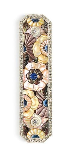 Fine Art Deco Platinum, Diamond, and Gem-set Plaque Brooch, Boucheron