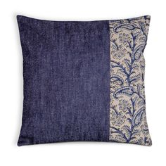 Indigo Denim Kalamkari Paisley Pillow Cover