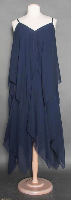 Unlabeled 1960s Bill Blass navy chiffon dress