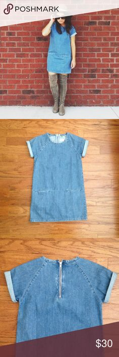 "Topshop Moto (Petite) denim t-shirt dress, size 0 Topshop Moto (Petite) denim t-shirt dress, size 0, front pockets, rolled up sleeves, zip up at back, 100% cotton, 30.5"" measured from shoulder to hem, gently worn a couple of times, great condition! Topshop Dresses"