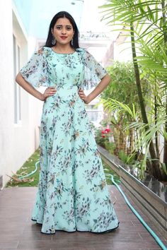 Stunning sea green color floor length dress with floral print. Floor length dress with bell sleeves.Beautiful gray and blue color combination floor length dress with big boarder. Floor length dress with ikkat dupatta. Indian Gowns Dresses, Indian Fashion Dresses, Indian Designer Outfits, Designer Dresses, Frock Fashion, Fashion Outfits, Long Gown Dress, Saree Dress, Frock Dress