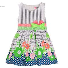 2016 2016 New Sweet Kids Girls Fashion O Neck Sleeveless Bow Floral Print Vest Dress To Ukraine Also From Betty9907, $14.28 | Dhgate.Com