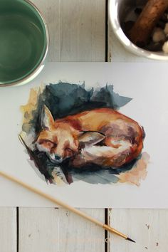 This sweet watercolor illustration of a little fox sleeping with autumn tones will add a warming atmosphere to any space of your home. Perfect for animal lovers, kids rooms, or just as a way to upgrade your wall decor with a touch of color and nature. Painted by the visual artist Laura Manteca Martin from Ink Imaginarium #inkimaginarium #foxillustration #foxwatercolor #foxpainting #foxart #foxartprint #watercolorpainting Fuchs Illustration, Watercolor Illustration, Wall Art Decor, Wall Art Prints, Fine Art Prints, Watercolor Animals, Watercolor And Ink, Fox Art, Print Pictures