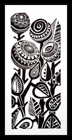 Drawing Flowers Abstract Flowers lino print -like the style, dark thick shapes contrasting with thin compact lines Sgraffito, Linocut Prints, Art Prints, Block Prints, Linoprint, Plant Drawing, Drawing Flowers, Abstract Flowers, Doodle Art