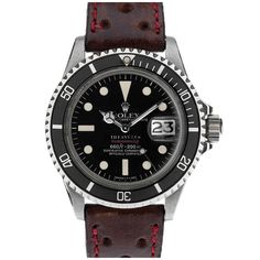 "ROLEX ""TIFFANY & Co"" ""Red Submariner"" Stainless Steel Dive-Watch. I Love this watch"