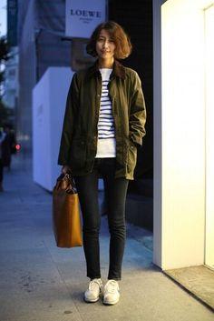 tomboy looks Boyish Style, Her Style, Barbour Jacket, Bomber Jacket, Girl Fashion Style, Ladies Fashion, Japan Fashion, Casual Outfits, Menswear